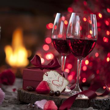 valentines day and fine wine